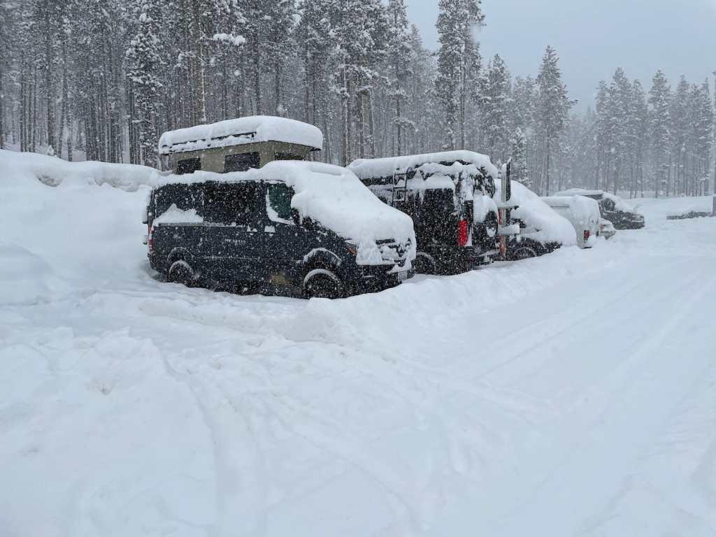 Snowy pop top sprinter van life day in the Winter Park G Lot