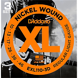 D'Addario EXL110 Nickel Light Electric Guitar Strings 3-Pack Standard