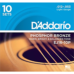 D'Addario EJ16-10P Phosphor Bronze Light Acoustic Guitar Strings (10-Pack) Standard