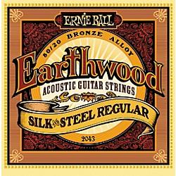 Ernie Ball 2043 Earthwood 80/20 Bronze Silk and Steel Acoustic Guitar Strings Standard