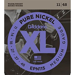 D'Addario EPN115 Pure Nickel Electric Guitar Blues/Jazz Electric Guitar Strings Standard