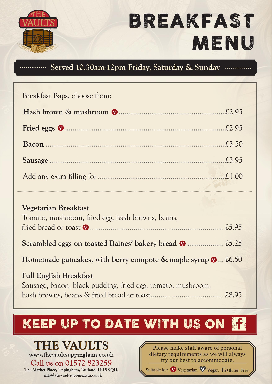 Hd English Breakfast Menu Card