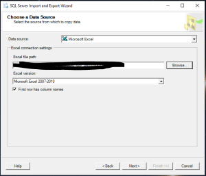 SQL Import Export select destination