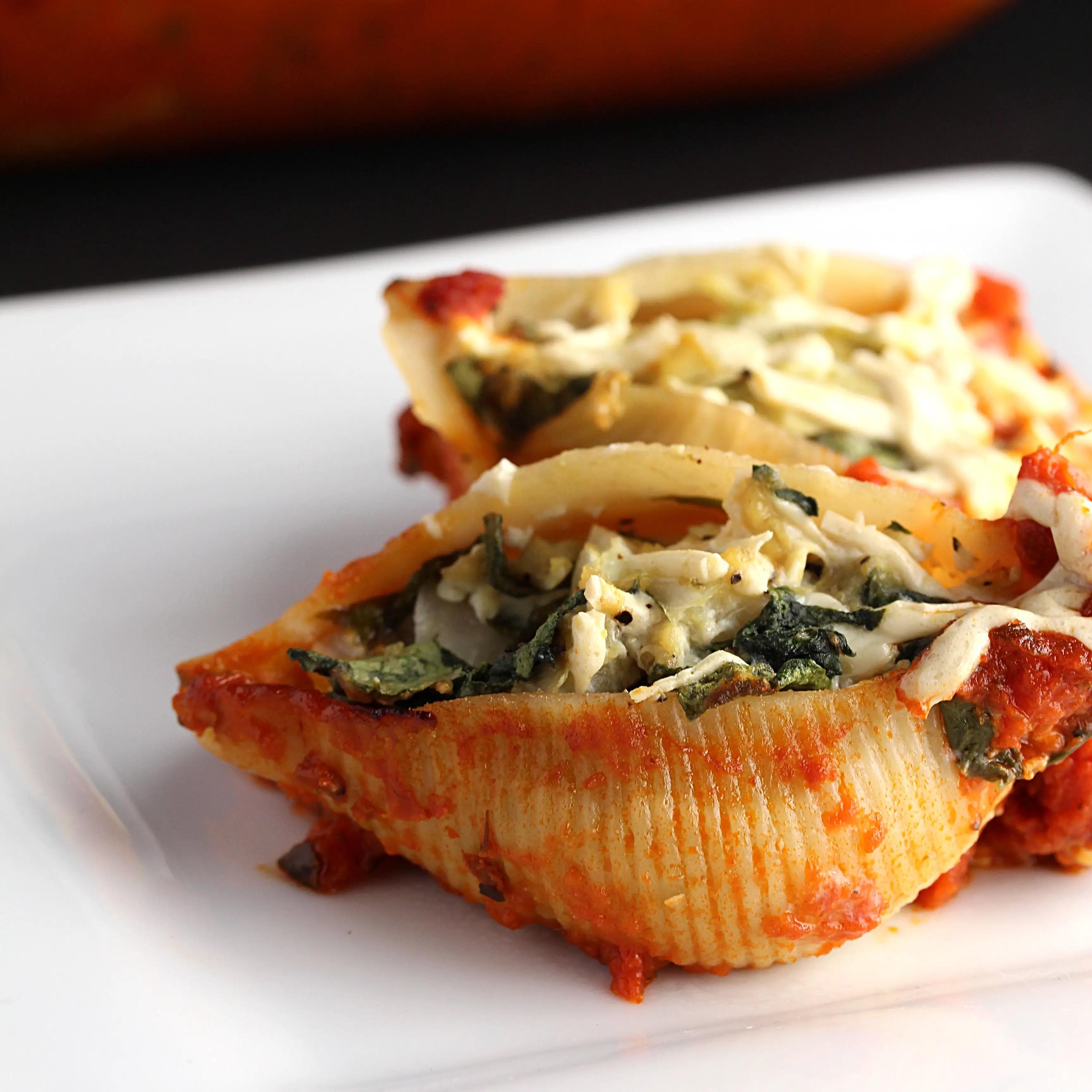 Spinach and Artichoke Pasta Shells [V+GF]