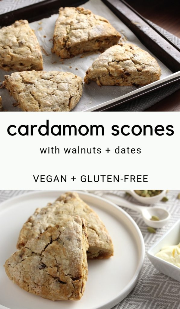 Pinterest pin for gluten-free vegan cardamom scones