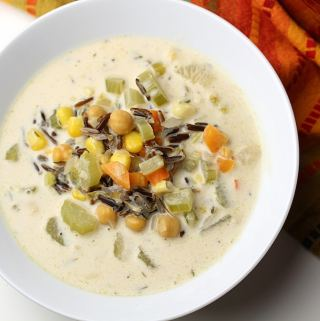 photograph of a bowl of creamy dreamy wild rice soup