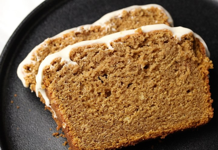Slices of Sweet Potato Spice Cake with frosting