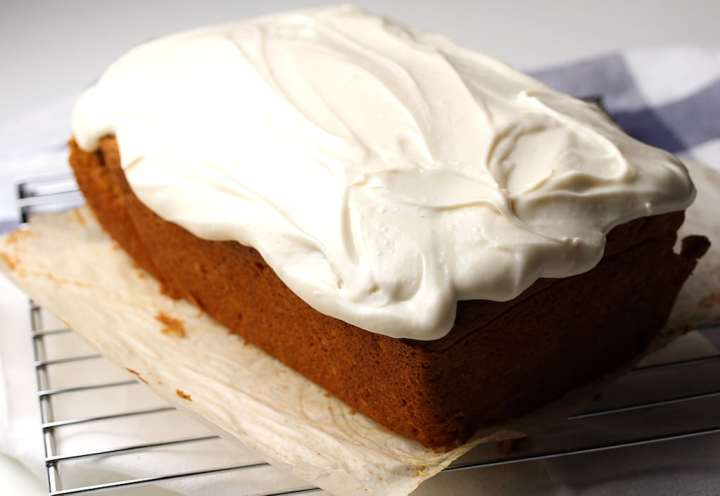Loaf of Spice Cake with frosting