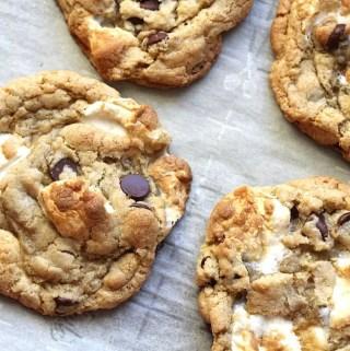 Vegan Gluten-Free S'mores Cookies on baking sheet