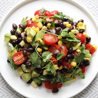 black bean corn salad on white plate