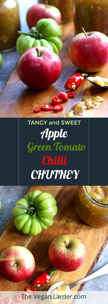 Green Tomato Chilli and Apple Chutney long pinterest image