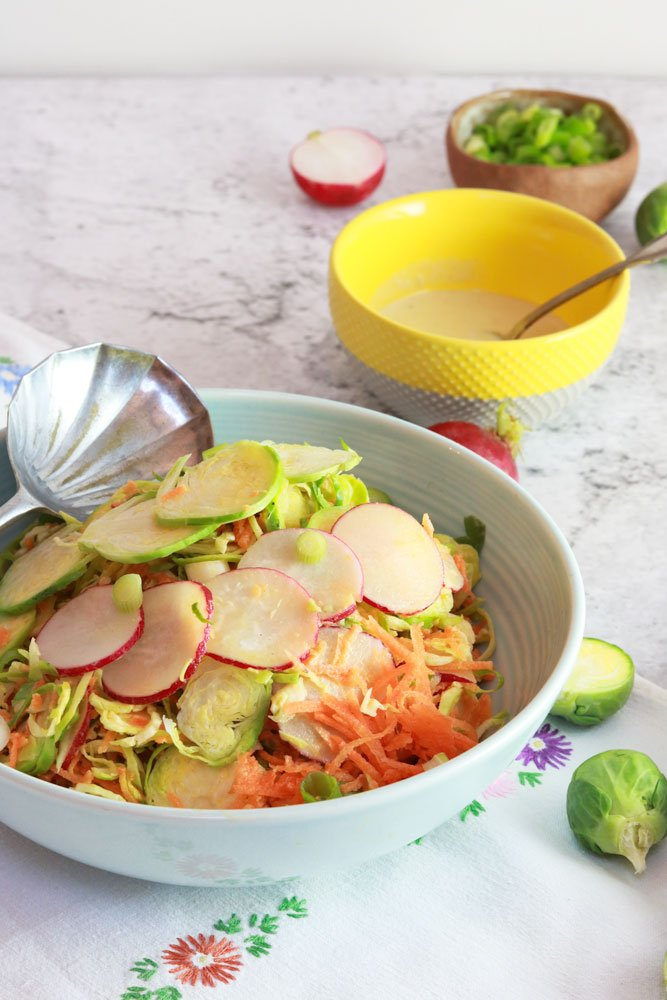 Winter Disco Slaw Close up in a bowl with spoon