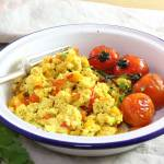 Tofu Scramble in a dish with roasted mushrooms