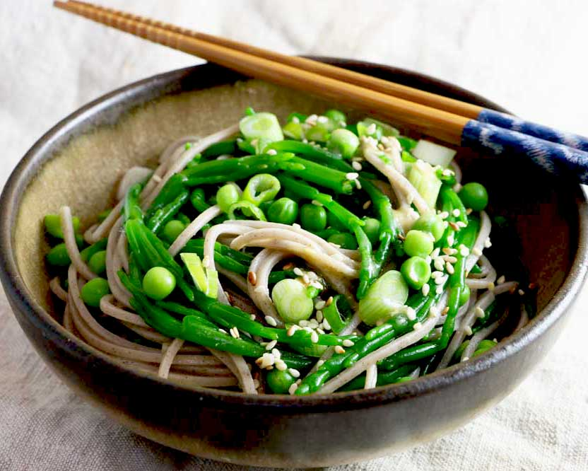 Samphire & Soba Noodles in a bowl