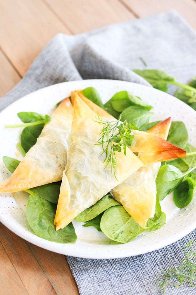 A plate of the Cheezy Spinach Triangles