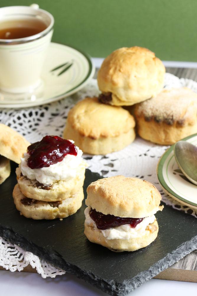 Vegan scones with vegan cream and jam