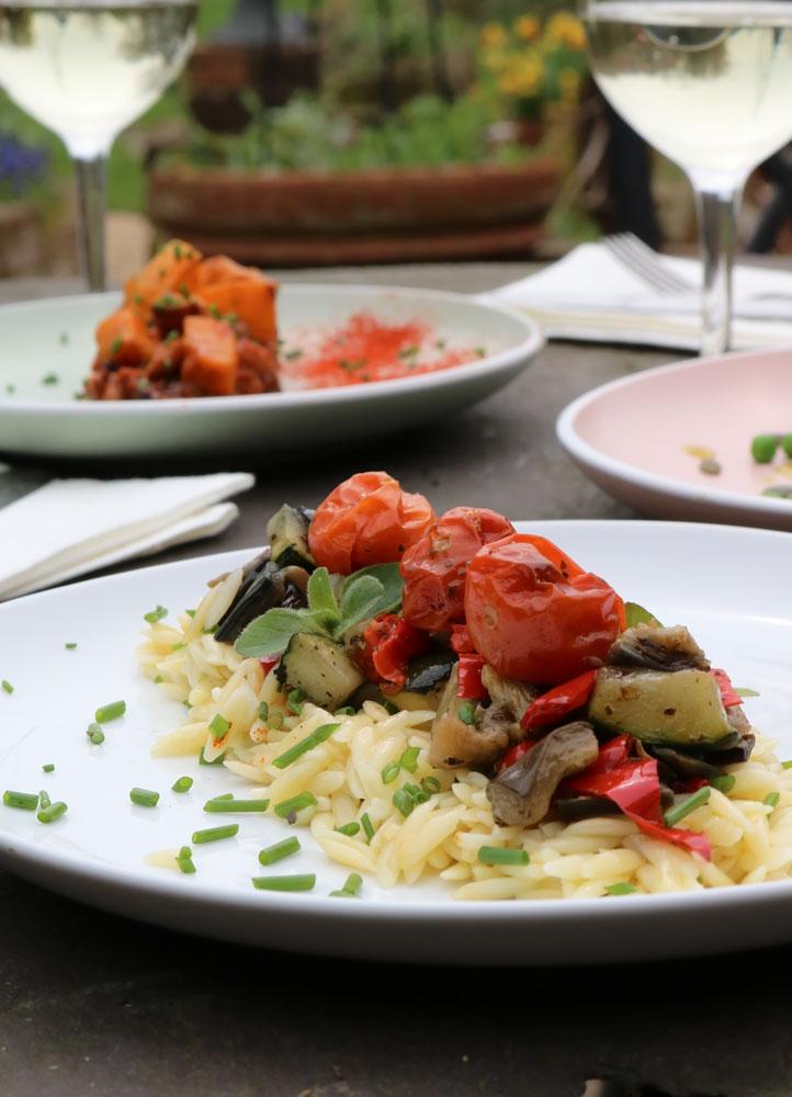 Lemony Orzo Pasta with Roasted Veggies