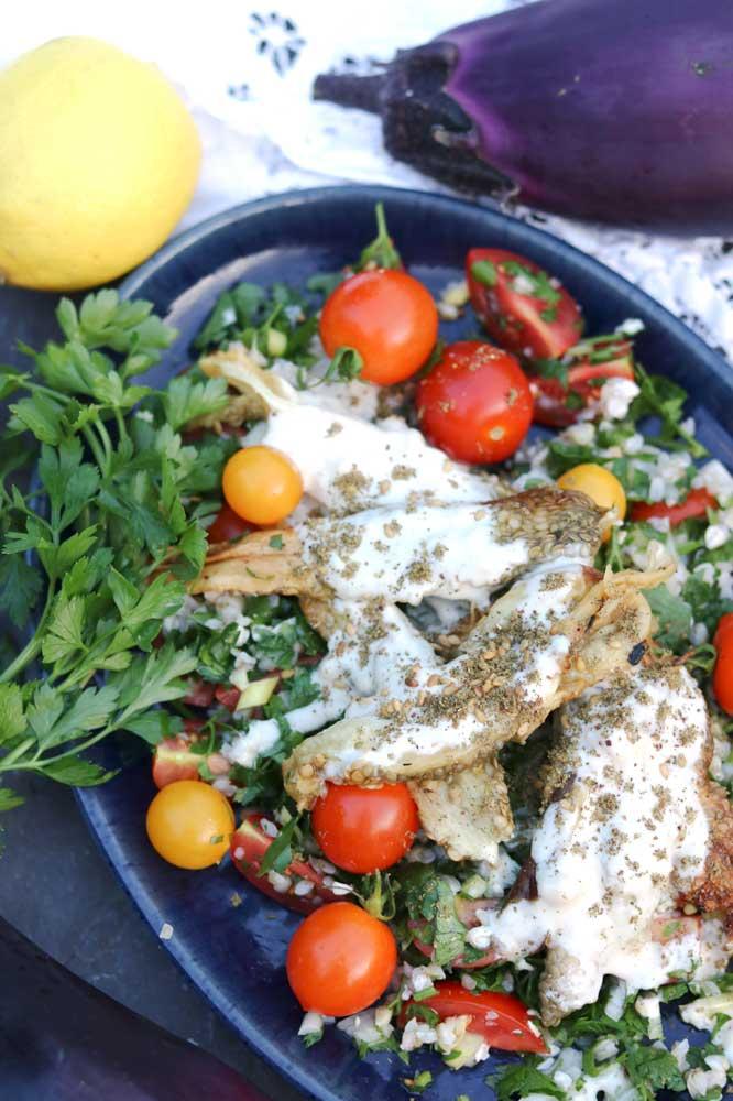 Smokey Aubergine and Tabbouleh Salad