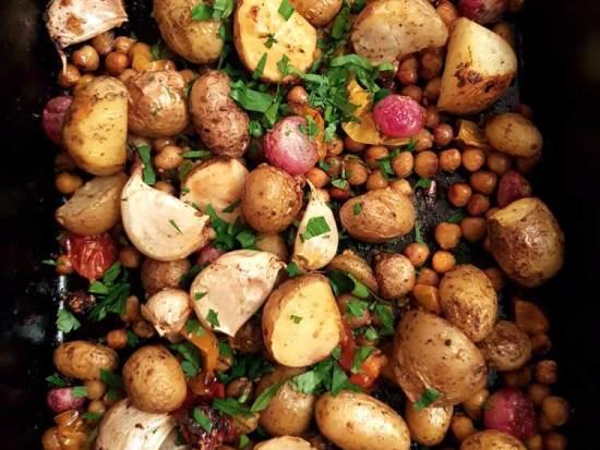 Potato, Radish Chickpea and Garlic Tray bake