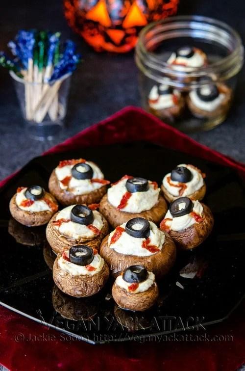 Vegan Yack Attack Mushroom Eyeballs for Halloween