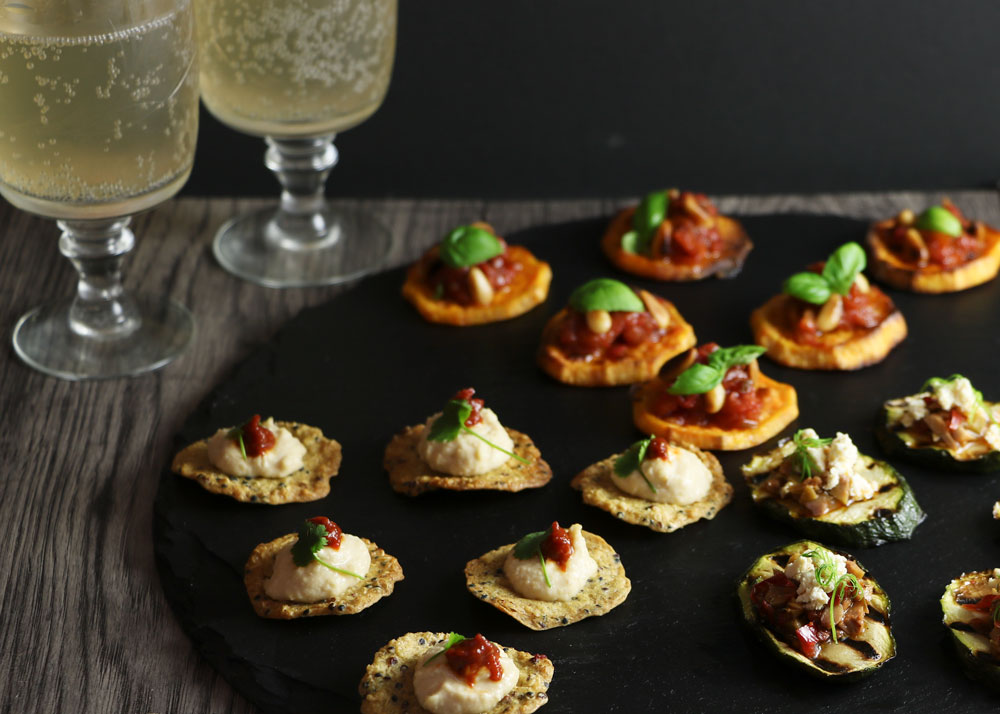 Canapes plate with 3 canape types
