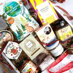 The Vegan Larder Deluxe Christmas Box showing contents