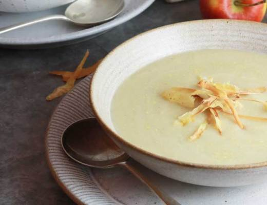 Vegan Parsnip and Apple Soup two bowls on table
