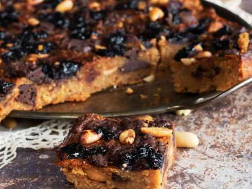 Nut Butter, Chocolate & Blueberry blondies