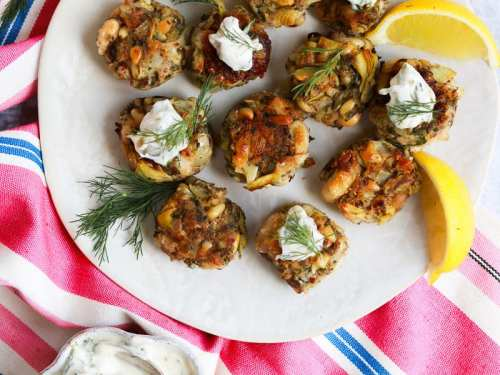 Vegan Crab Cake Canape with tartare sauces with tartare sauce