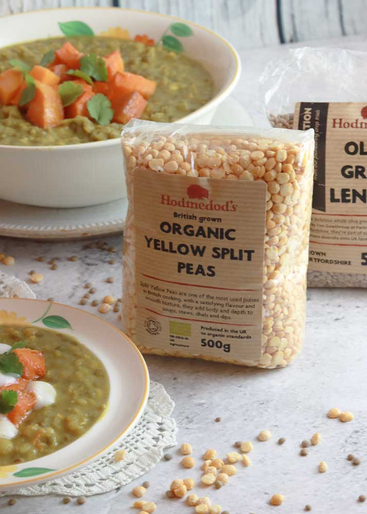Hodmedods yellow split peas with dal in background