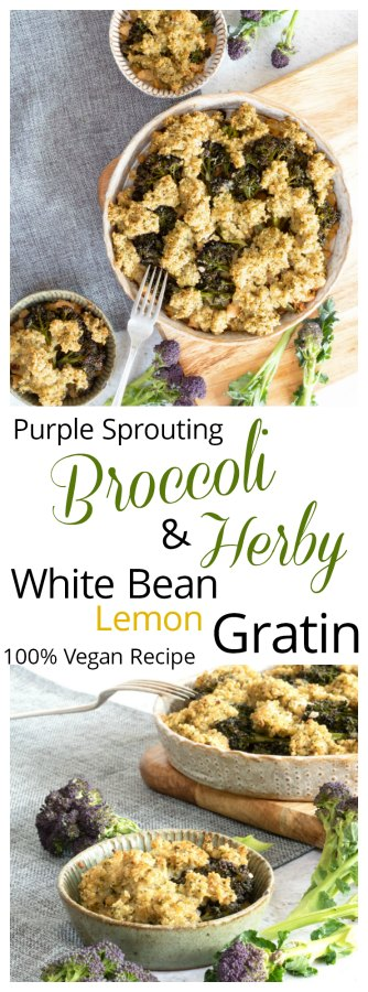 purple Sprouting Broccoli and White Bean Gratin image for PInterest