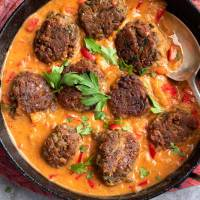 Lentil Koftas with Tomato Curry Coconut Sauce
