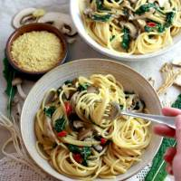 Vegan Smoked Garlic & Wild Mushroom Pasta