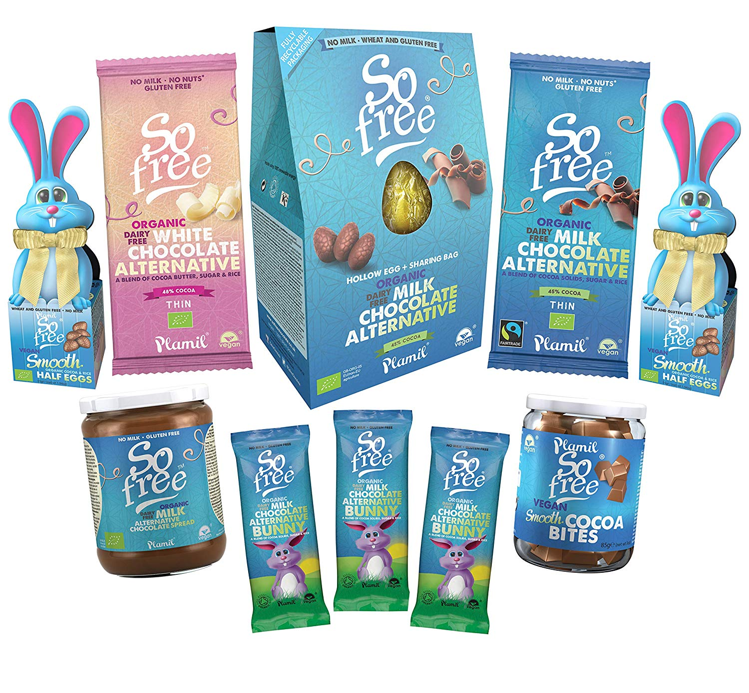 Vegan chocolate Easter bunnies, bars and chocolate spread