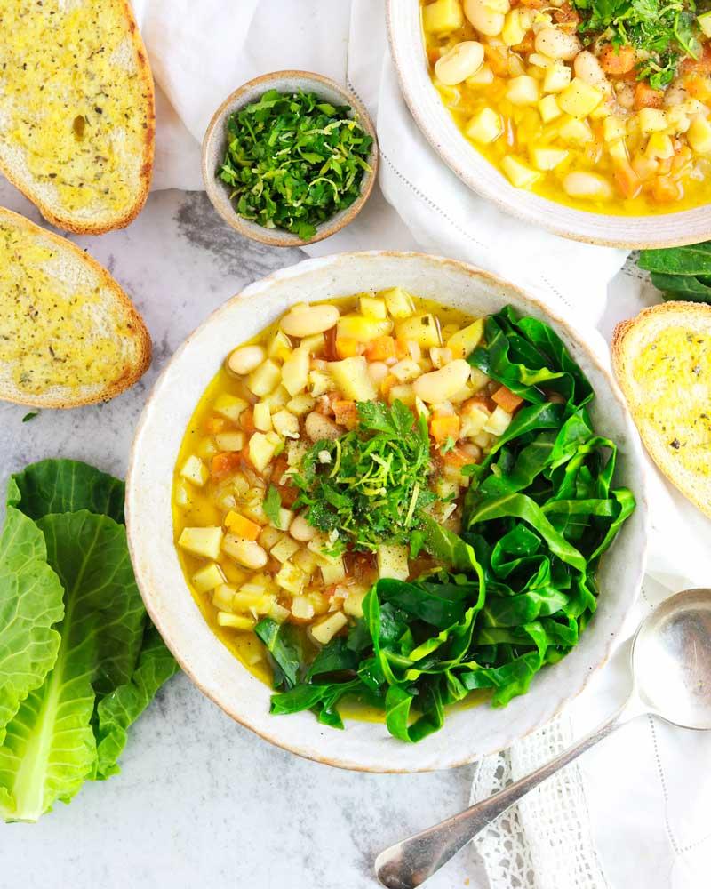 Vegan Spring Greens Minestrone soup