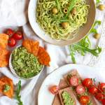 Chunky Rocket, Olive & Cashew Pesto dip on pasta, on crackers and as a dip on a table