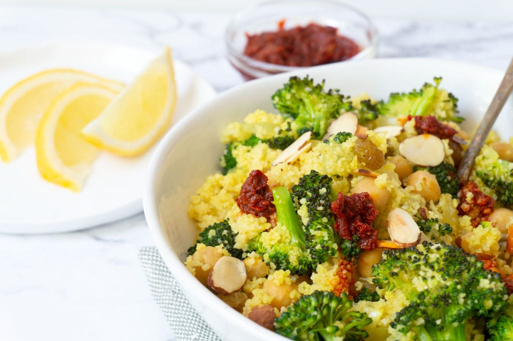 Broccoli couscous salad in a bowl