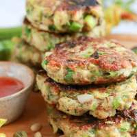 Vegan Courgette Fritters with Pine Nuts (G.F. recipe)