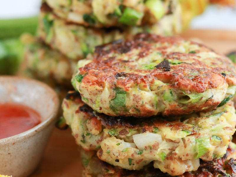 Courgette fritters in a pile