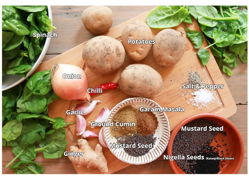 Ingredients for the Saag aloo curry