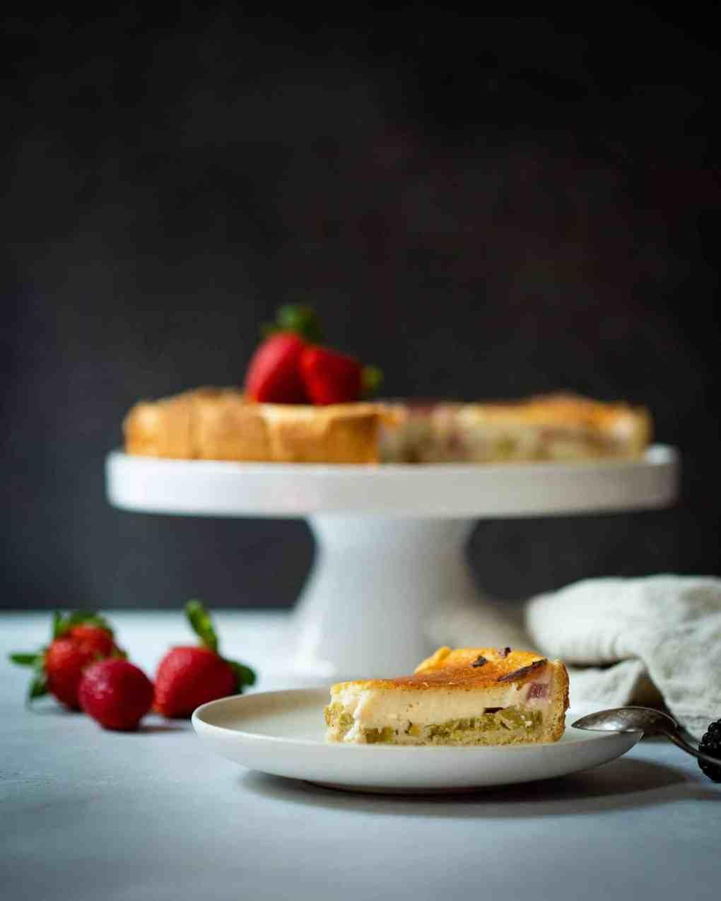Veganer Käsekuchen Rhabarber Cheesecake vegane Torte