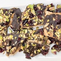 Dark Chocolate Bark with Pistachio and Cranberries