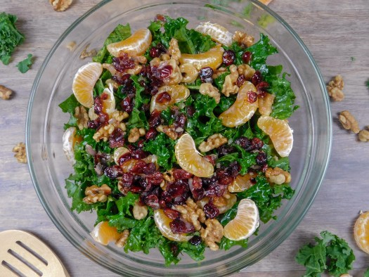 Festive Kale Salad with Cranberry Vinaigrette