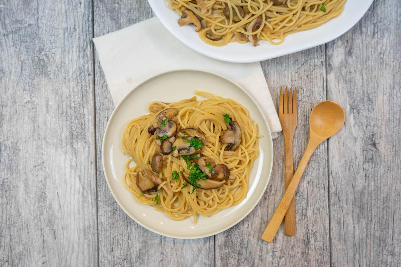 Mushroom Marsala Spaghetti - The Vegan Rhino
