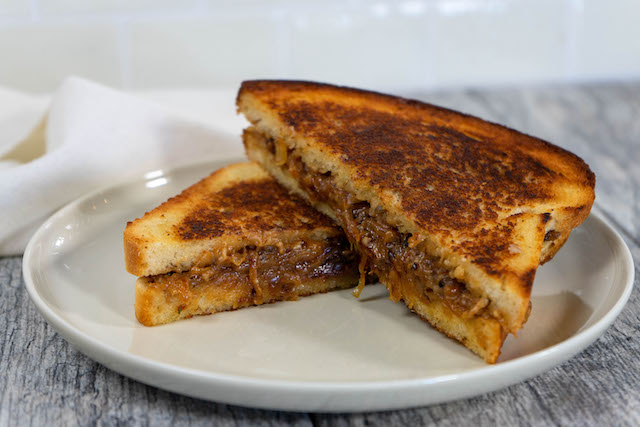 French Onion Grilled Cheese - The Vegan Rhino