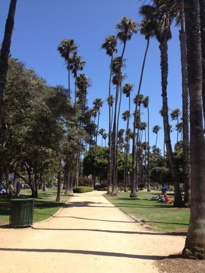 Walking toward the Santa Monica Pier