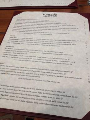 Menu at Sun Cafe in Sherman Oaks