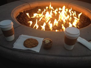 Dessert from Joi Cafe taken to enjoy in front of the fire pit at our hotel