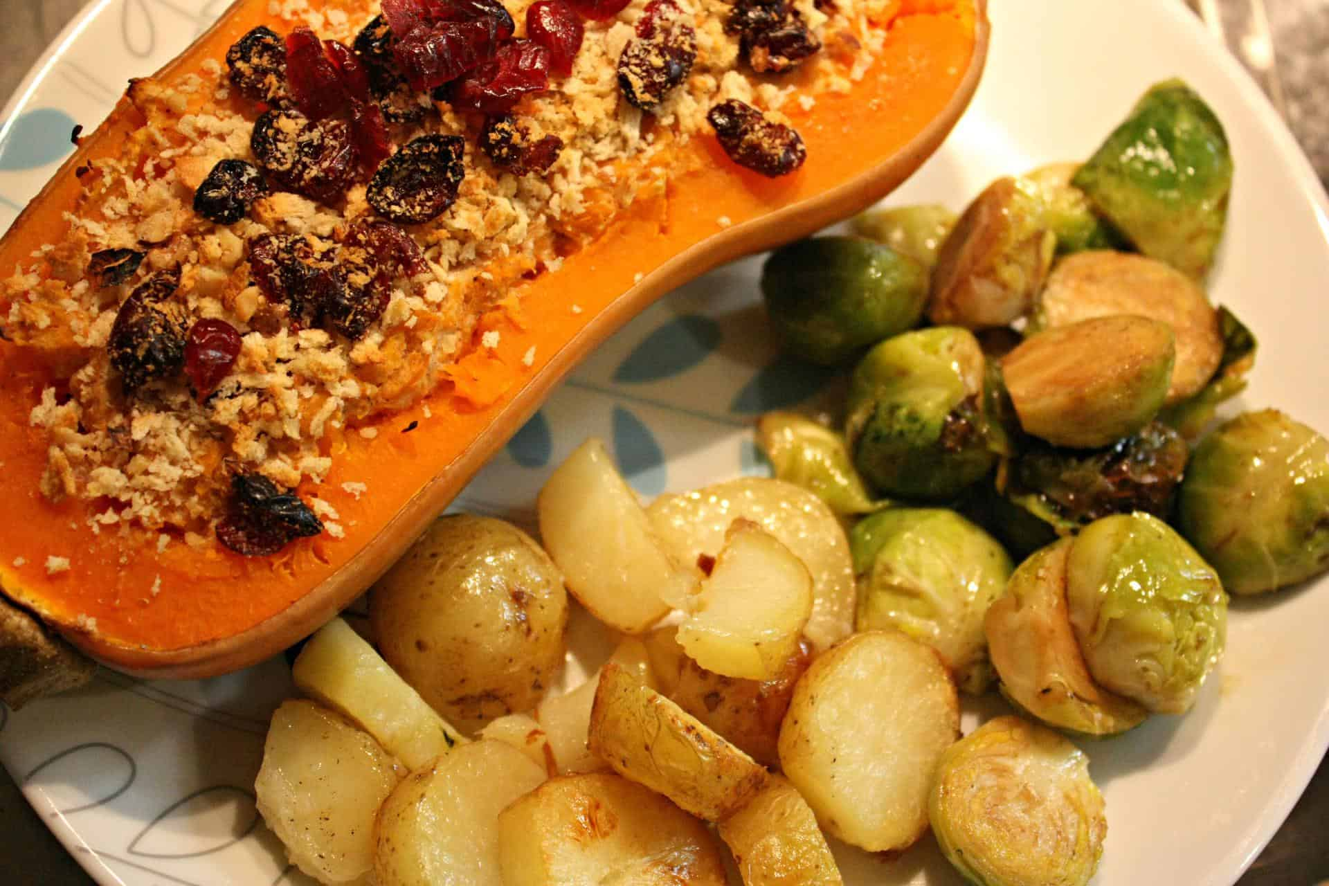 Christmas Dinner Recipe TwiceBaked Butternut Squash with Cashew Cheese Walnuts and