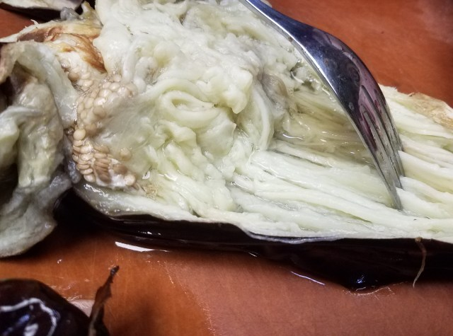 Eggplant scrape with fork
